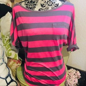 Splendid Striped Tee - L pink gray , poly cotton